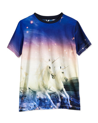 Unicorn-Print Jersey Tee & Asymmetric Button-Zip Denim Shorts