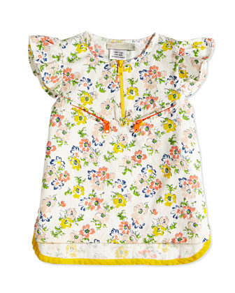 Sleeveless Floral-Print Jacquard Blouse, Cream, Size 2Y-14Y