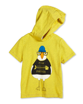 Duck-Graphic Hooded Jersey Tee, Yellow, Size 2-10
