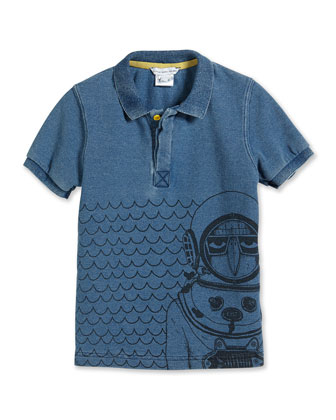 Scuba-Graphic Polo Shirt, Blue, Size 2-10