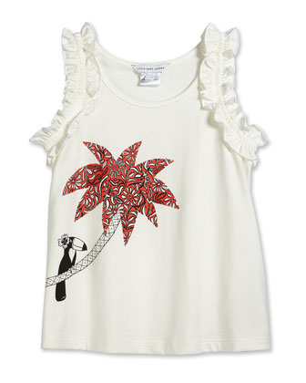Palm Tree-Print Jersey Tank, Off White, Size 2-12
