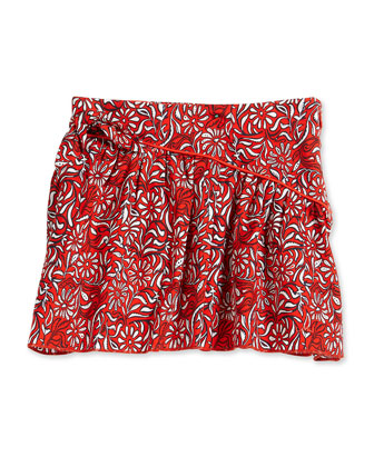 Paisley-Print A-Line Skirt, Red, Size 2-12
