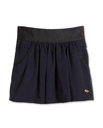 Full Twill Skirt w/ Contrast Trim, Navy, Size 2-10