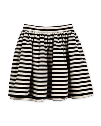 striped aline skirt, black/cream, girls' size 7-14
