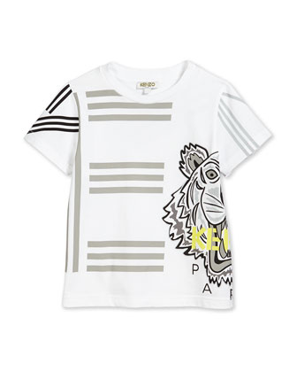 Graphic-Print Jersey Tee, White, Size 2-5