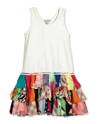 Fit-and-Flare Combo Dress, White/Multicolor, Size 6M-3