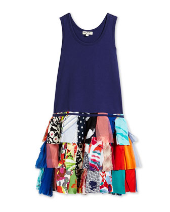 Fit-and-Flare Combo Dress, Blue/Multicolor, Size 4-10