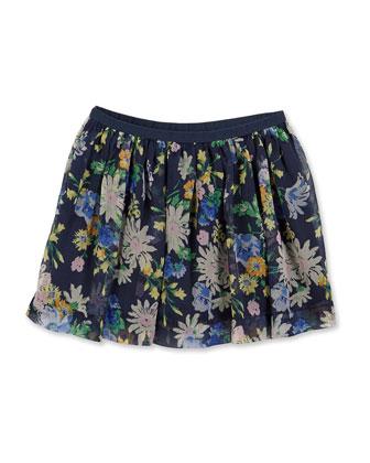 Floral-Print Chiffon Circle Skirt, Navy, Size 2T-6X