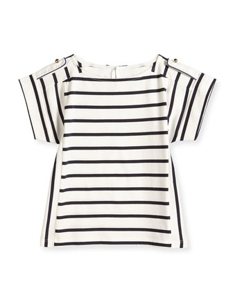 Striped Short-Sleeve Tee, Navy/White, Size 2-6