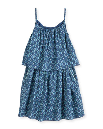 Girls' Graphic-Print Tiered Dress, Blue