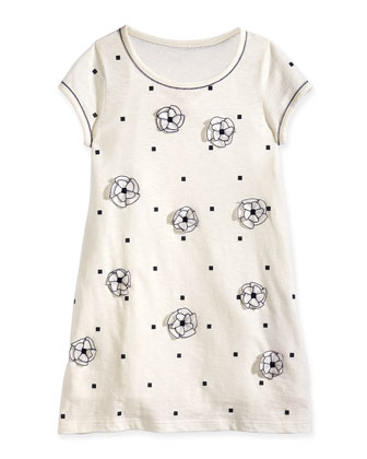 Square-Print Jersey Dress w/ Floral Detail, Off White, Size 8-14