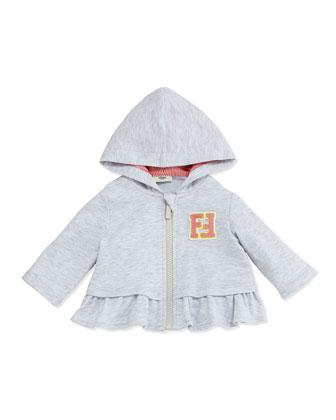 Ruffle-Hem Zip-Up Hoodie, Light Gray, Size 3-24 Months