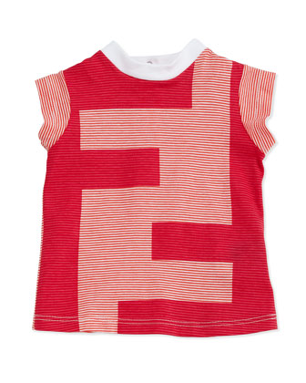 Logo Striped Tee, White/Orange, 3-24 Months