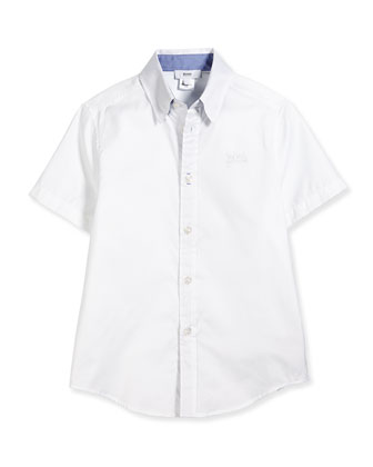 Short-Sleeve Button-Front Shirt, White, Size 4-10