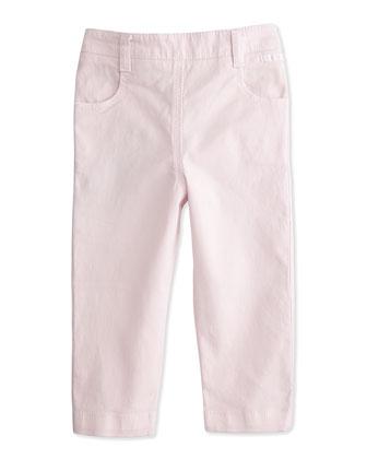 Stretch-Gabardine Pants w/ Bow Detail, Light Pink, Size 6-18 Months