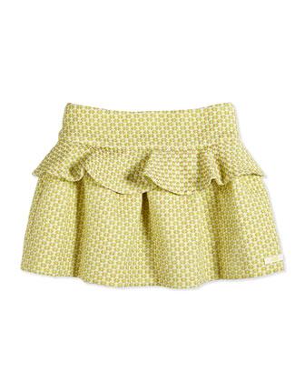 Pin Dot-Jacquard Peplum Skirt, Light Yellow, Size 2-6