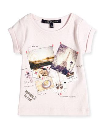 Parisian-Print Jersey Tee, Light Pink, Size 2-6