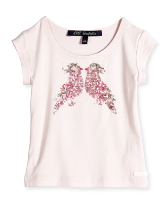 Sequin Bird Applique Jersey Tee, Light Pink, Size 2-6