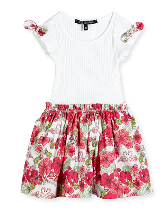 Floral-Print Contrast Dress w/ Ribbed Top, White, Size 2-6