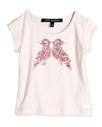 Sequin Bird Applique Jersey Tee, Light Pink, Size 8-12