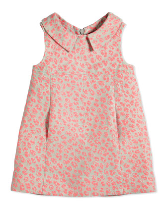Sleeveless Animal Jacquard Poplin Dress, Pink, Size 8-12
