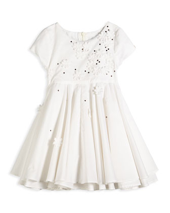 Floral & Rhinestone Cotton Voile Dress, White
