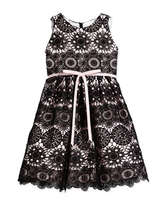 Lace-Overlay A-Line Dress, Black/Pink