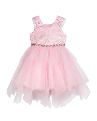 Lace & Tulle Party Dress, Pink, Size 2-10