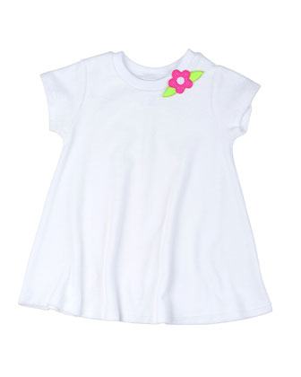 Short-Sleeve Terry Coverup w/ Flower, White, Size 9-24 Months