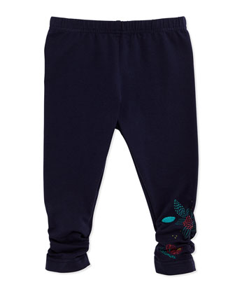Ruched Stretch Leggings w/ Floral Detail, Navy, Size 6M-2Y