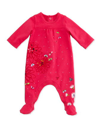 Long-Sleeve Floral-Print Footie Pajamas, Pink, Size 3-9 Months