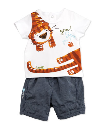 Tiger-Print Snap-Back Jersey Tee & Check Shorts, White/Blue, Size 3M-2Y