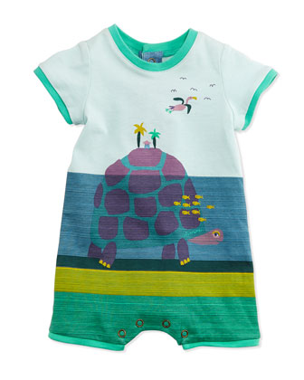Striped Turtle Island-Print Shortall, Blue, Size 3-12 Months