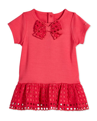 Stretch-Knit Dress with Eyelet Skirt & Bloomers, Pink, Size 3-18 Months