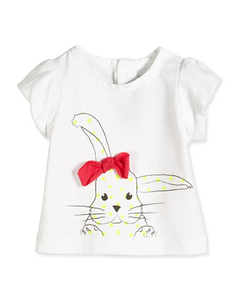 Bunny-Print Jersey Tee, White, Size 3-18 Months