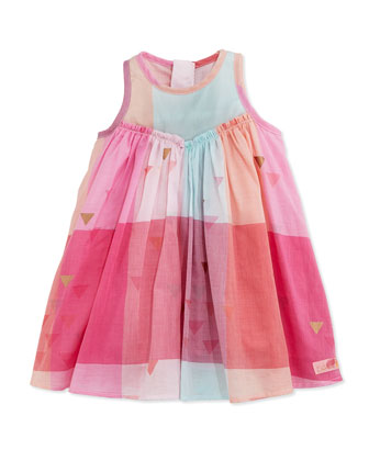 Sleeveless Triangle-Print Plaid Shift Dress, Pink, Size 3Y-6Y