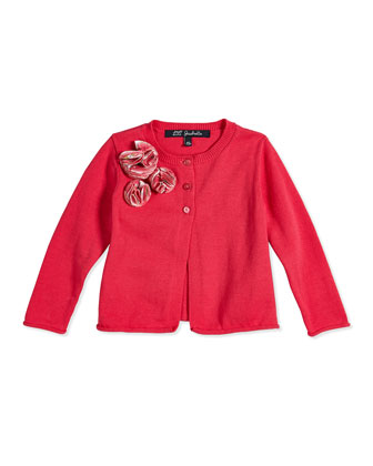 Stretch-Knit Half Button-Front Cardigan, Pink, Size 8-12