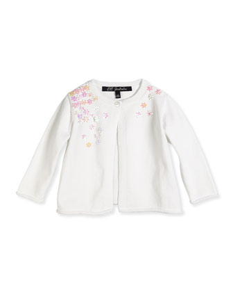Scattered Flower Single-Button Cardigan, White, Sizes 8-12
