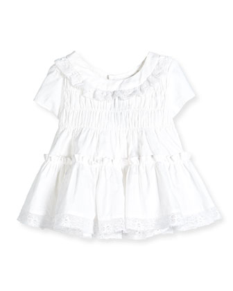 Lace-Trim Cotton Voile Dress, White, Size 2-6