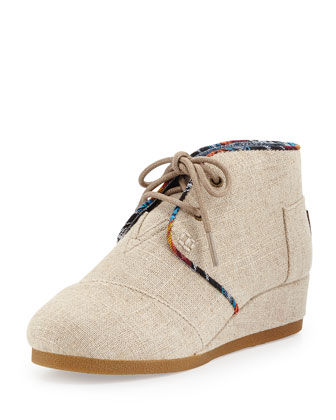 Burlap Desert Wedge Boot, Natural, Youth