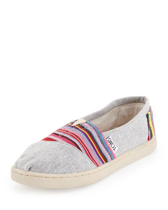 Striped Chambray Slip-On, Gray/Pink, Youth