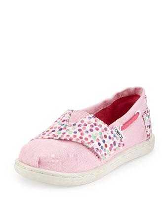 Confetti-Print Bimini Shoe, Pink/Multicolor, Tiny