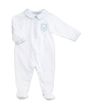 Pique Footie Pajamas w/ Striped Contrast, White, Size -19 Months