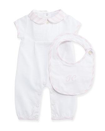 Short-Sleeve Playsuit & Bib Gift Set, Light Pink, Size Newborn-6 Months