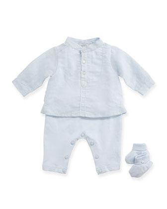 Long-Sleeve Pajama & Bootie Gift Set, Light Blue, Size Newborn-6 Months