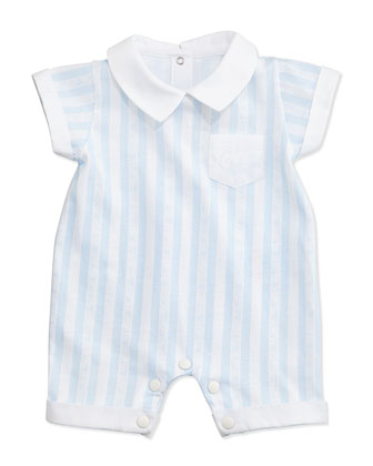 Striped Snap-Back Shortall, Blue/White, Size Newborn-6 Months
