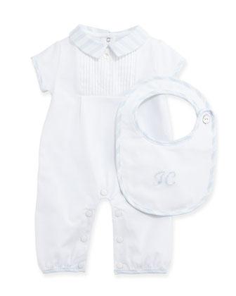 Short-Sleeve Playsuit & Bib Gift Set, Light Blue, Size Newborn-6 Months