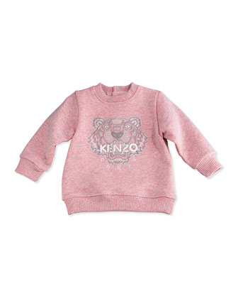 French Terry Tiger Sweatshirt & Sweatpants, Gray/Pink, Size 3M-2Y