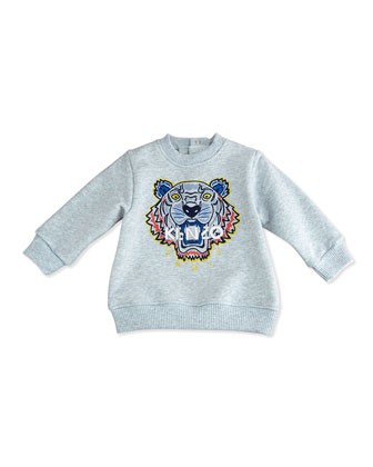 French Terry Tiger Sweatshirt, Gray/Blue, Size 3M-2Y