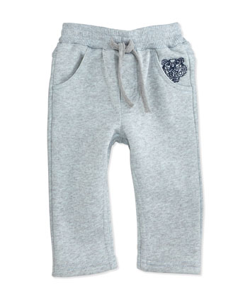 French Terry Sweatpants, Gray/Blue, Size 3M-2Y